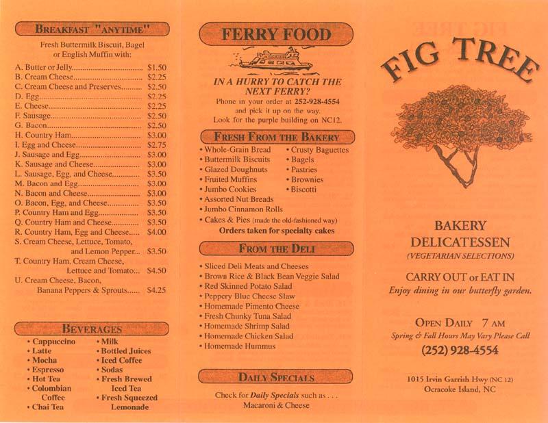 Fig Tree Cafe Menu